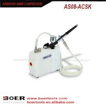 Aerógrafo mini compressor kit portátil unha pintura mini compressor