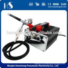 HS-216K Airbrush profissional Compressor de ar 2 titulares Mangueira Regulador Filter Cake Tattoo
