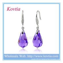 Moda jóias de cristal roxo loja de moda 925 brinco de prata esterlina