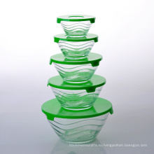 Стекируемые Дизайн Волна Стеклянная Чаша Для Хранения Набор