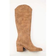 Ladies Mid-Calf Low Heels  Knee-high Rivet Boots
