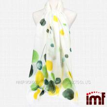 100% de cachecol colorido do às bolinhas do branco do xaile do lenço branco à venda