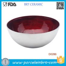 Botttom Bottlom Red Glazed Inside Tigela De Salada De Cerâmica