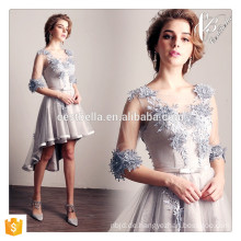 Elegantes kurzes Hülsen-vorderes kurzes rückseitiges langes graues Blumenabend-Abschlussball-Partei-Kleid-Abend-Kleid
