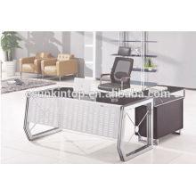 Pernas de aço inoxidável Secretárias executivas de vidro para venda, mesa de vidro de 12 mm