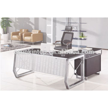 Stainless steel legs Glass top executive desks for sale, 12mm glass desk top