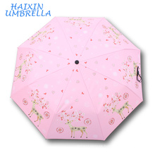 Hot Sale Unique Custom Promotion Item Small Fashion Pink Retail Japaness Folding Animal Design 3 Folded Gift Umbrella 21 Inch