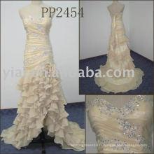 2011 nouvelle arrivée de haute qualité livraison gratuite perlée sweetheart dentelle en mousseline de soie prom dres PP2454