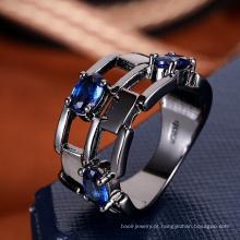 Acessórios mulheres anel de moda china safira azul anel de pedra modelo
