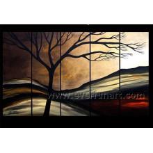 5 panneaux de peinture à l'huile sur toile à la main sur toile