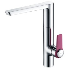 Contemporary style kitchen water mixer with pink handle