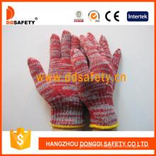Rouge et gris mélangé coton / polyester, gants tricotés de chaîne de calibre 7 (DCK512)