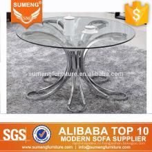 европейский стиль высокое качество круглый стекло топ из нержавеющей стали база журнальный столик сторона