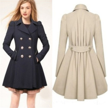 Mulheres Classic Double-Breasted emagrecimento casaco longo casual Trench