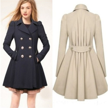 Women′s Classic Double-Breasted Slimming Casual Long Trench Coat