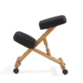 Wooden Frame Ergonomic Kneeling Chair Yoga folding Chair, Black Fabric