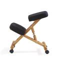 Деревянная Рама эргономичный на коленях стул для йоги складной стул, черный ткань