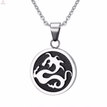Cool Stainless Steel Silver Big Round Monogram Pendant Holder Necklace
