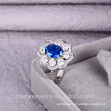 China Supplier New Arrival Women Jewelry Flower Shape Sapphire Ring