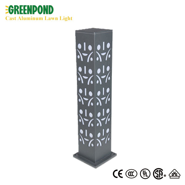 Classic Rhombus Patterned Cast Aluminum Lawn Lamp