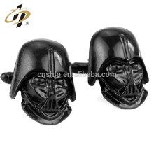 2016 nuevos productos calientes que venden las mancuernas negras de la aleación del cinc del logotipo del caballero de encargo con la caja