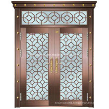 Glass Decorative Double-Leaf Security Steel Metal Copper Door (W-GB-09)