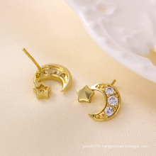 Fashion Charm 14k Gold-Plated Star Moon CZ Jewelry Earring Studs-23193