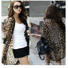 2016 New Women Loose Batwing Chiffon Leopard Cardigan