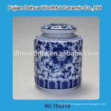 Morden ceramic sugar canister with flower figurine