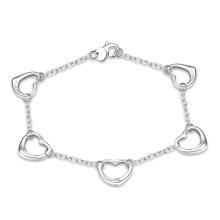 Heureux Vente chaude Cinq bracelets en forme de coeur Bracelet Bracelet plaqué argent