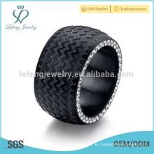 Anillo de goma negro para hombre, anillos de goma plana