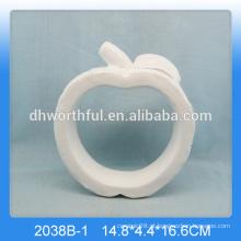 Handmade decoração de maçã de cerâmica, decoração de maçã de porcelana branca para decoração de casa