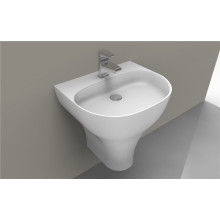 Modern White Freestanding Oval Shaped Acrylic Washbasin