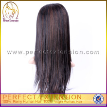 Mercancía de la India Peluca de cabello humano recto sedoso de 18 pulgadas U