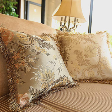 Federe decorative Jacquard con bordi in nappa satinata