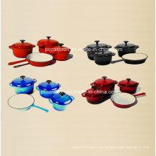 Utensilios de cocina de hierro fundido del esmalte 4PCS fijados en cuatro colores