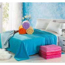 Супер мягкий фланель флисовой одеяло в сплошной 100%полиэстер
