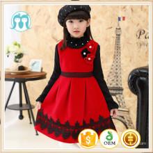 Winter Kinder Weihnachten Party Kleidung Nylon rot Party Kleid europäischen Pinafore Mädchen Neujahr Pinafore Kleid Großhandelspreis