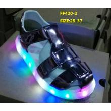 Crianças verão sandálias brilhantes piscando luz LED shoes (ff420-2)