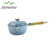 Caçarola do esmalte do ferro fundido, Cookware do ferro de molde, potenciômetros de cozimento do ferro fundido do esmalte com punho de madeira