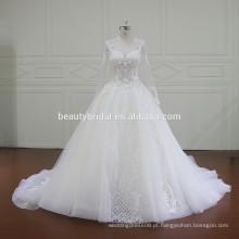 XF16014 mangas compridas vestido de casamento muçulmano com beading de luxo e applique de renda bonita