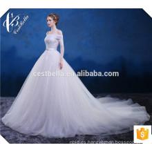 Por encargo de cristal blanco rebordeado vestido de boda vestido de bola con cola larga de hombro vestido de novia de tul blanco