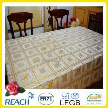 137 cm tissu de table de crochet de dentelle de PVC de vinyle dans l'or de petit pain / argent enduit