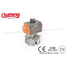 Four Way Threaded End Ball Valve with Pneumatic Actuator