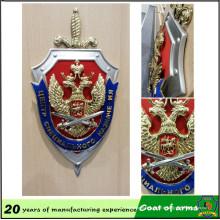 Emblème de forme de bouclier personnalisé avec épée