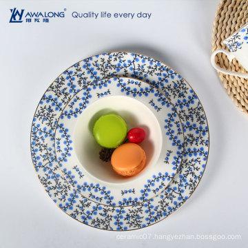 plain decal blue floral ceramic disposable tableware porcelain reusable plates