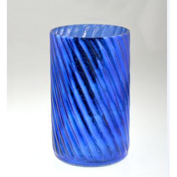 Высокий цилиндрический синий подсвечник