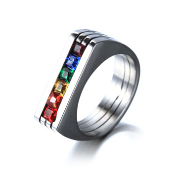 Bague Fashion six arc-en-ciel