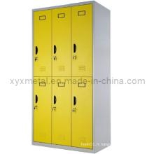 Armoire pour vêtements en métal Armoire de rangement en acier à 6 portes