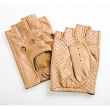 Men′s Fashion Fingerless Goatskin Leather Driving Sports Gloves (YKY5204-1)
